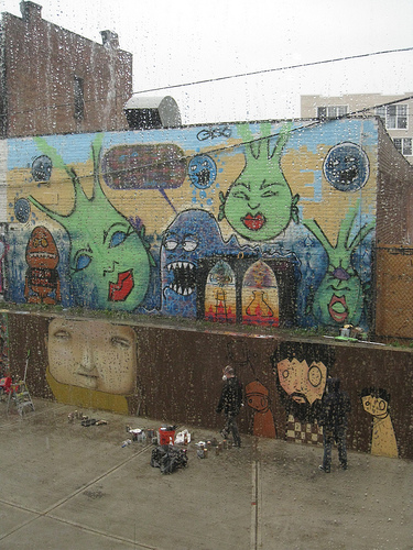 outdoor mural in the rain