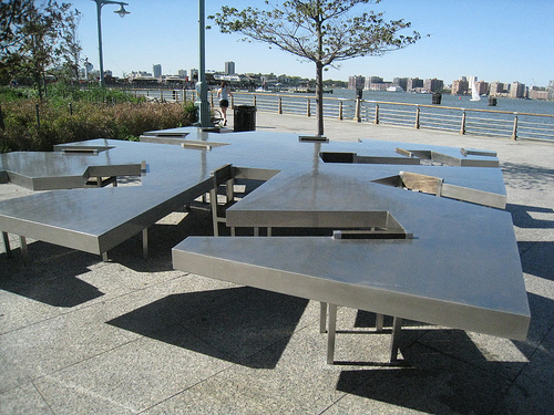 tables and chairs on the hudson